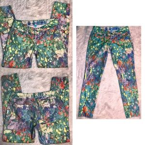 L'Amour Multicolor Painted Floral Skinny Jeans